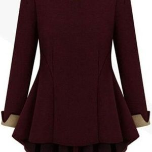Burgundy Red High Low Tunic Top  Fits XL 16P NWT